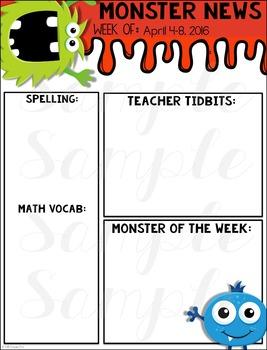 Monster Classroom Newsletter