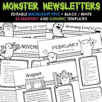 Monster Newsletter Templates - Monthly Theme and Everyday Occasions
