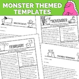 Monster Newsletter Templates - Editable for Letters, Calendars, Monthly Themes