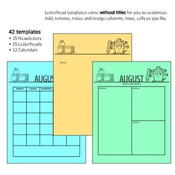Monster Newsletter Templates - Editable for Letters, Calendars, Monthly Themes