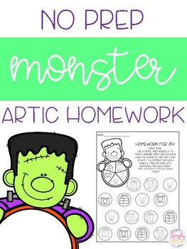 Monster No Prep Articulation Homework!