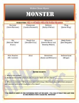 Monster Novel Study Walter Dean Myers