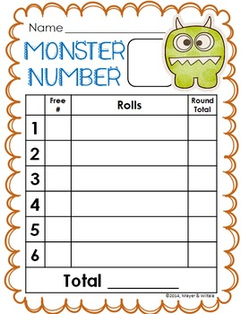 Monster Number: An Addition and Probability Math Activity
