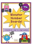 Monster Number Boards 6 boards 1 digit - 6 digit number work and place value