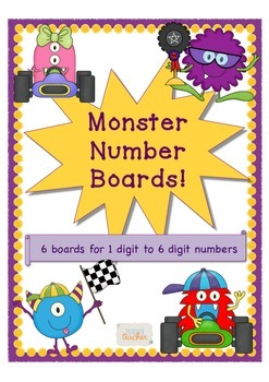 Monster Number Boards 6 boards 1 digit - 6 digit number wo