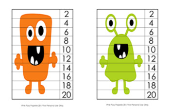 Monster Number Counting Strip Puzzles - 8 Different Designs - Skip by 2