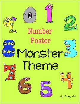 Number Posters with Ten Frames - Monster Theme (Simplified Chinese)