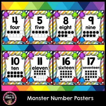 Monster Number Posters