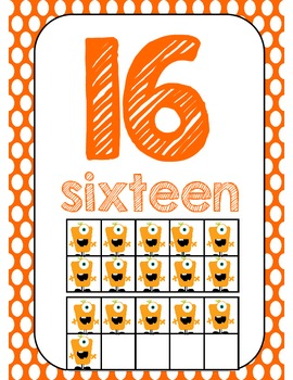 Monster Number Posters with Ten Frames