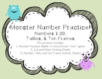 Monster Number Practice Set- Numbers 1-20