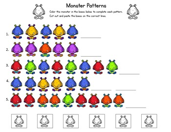 Monster Number Word Matching Cards
