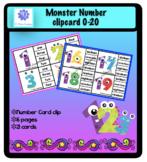 Monster Number clip card 0-20