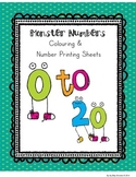 Numbers 0 to 20 - NO PREP Monster Number Printables