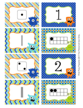 Monster Numbers 1-10 Match Activity