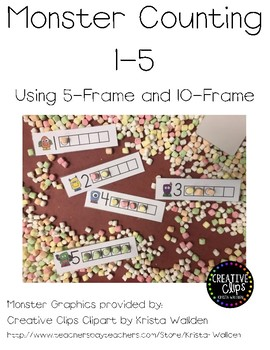 Monster Numbers 1-5 with 5 frame and 10 frame