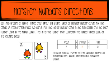 Monster Numbers Activity