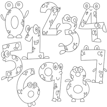 Monster Numbers Clipart