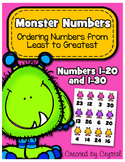 Ordering Numbers Least to Greatest 1-20 and 1-30 (Monster Numbers)