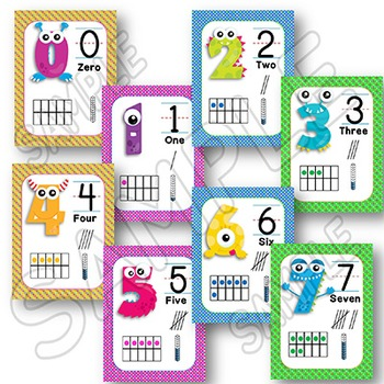 Monsters Theme - Numbers - Posters with Tens Frames