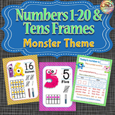 Numbers 0-20 Posters with Tens Frames MONSTERS Themed Decor, Plus Activity