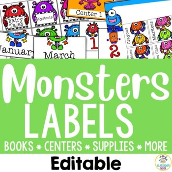 Monster Theme: Organization Cards and Labels (Editable)
