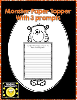 Monster Page Topper and Bottom with 3 Writing Prompts