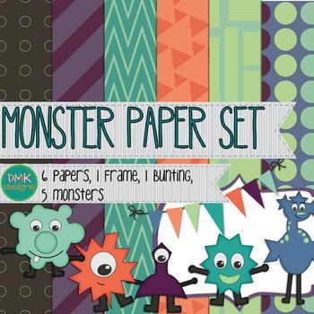 Digital Paper and Frame Set- Monsters