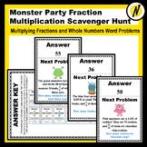 Monster Party Fraction Multiplication and Word Problem Scavenger Hunt
