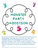 Monster Party Missing Addends Game