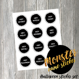 Monster Party Name Stickers Printable