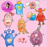 Monster Party Water Color Clip Art 40 pieces