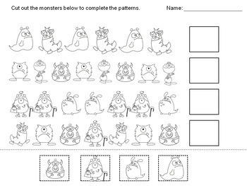 Patterning Worksheets (Monsters)