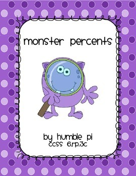 Monster Percents: Percent of One Hundred- CCSS 6.RP.3c