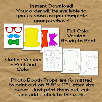 Monster Photo Booth Props and Decorations - Halloween Printable