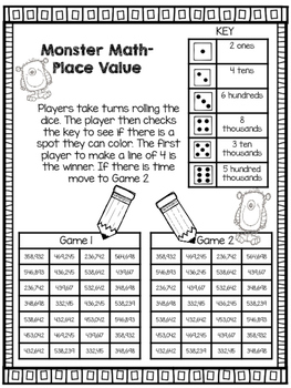 Monster Place Value Game
