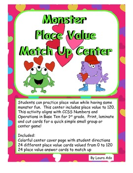 Monster Place Value Match Up Center CCSS Numbers and Operations in Base 10
