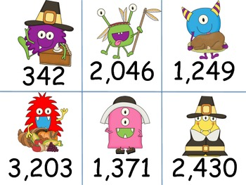 Monster Place Value to the Thousands Matching Game