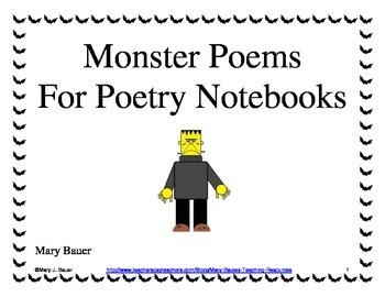 Monster Poems for Poetry Notebooks