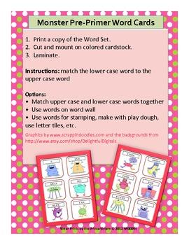 Monster Pre-Primer Word Cards