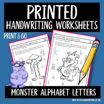 Monster Printed Handwriting Sheets