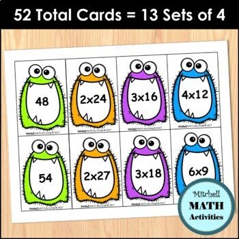 Monster Products Fourth Grade Multiplication Card Game