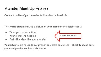 Monster Profiles (Parallel Sentence Structure Practice)