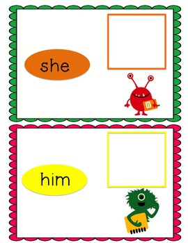 Monster Pronouns Sort