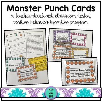 Monster Punch Cards (Positive Behavior Incentive Program)