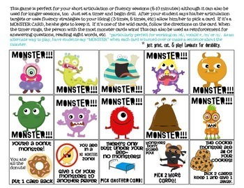 Quick Drill Monsters {for speech therapy or any skill drill}