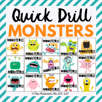 Monster Quick Drill {for articulation or fluency therapy & RTi}