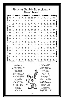 Monster Rabbit Runs Amuck! (Patricia Reilly Giff) Novel Study (22 pages)