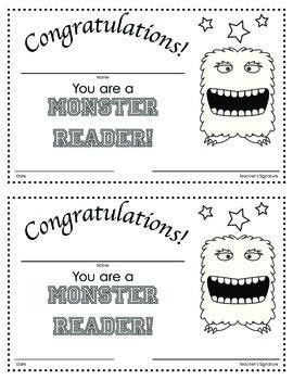 Monster Reader: Certificate in Black and White
