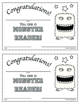 Monster Reader: Certificate in Black and White