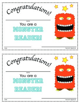 Monster Reader: Certificate in Color